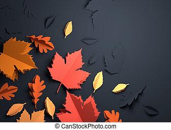 art, feuilles, -, automne, papier, automne