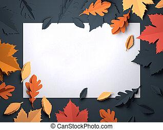 art, feuilles, -, automne, papier, fond, automne