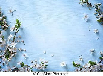 art, fleur, printemps, fond, blanc, frontière