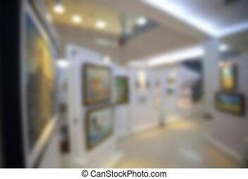 art, fond, galerie, defocus, brouillé, musée