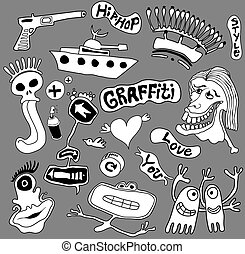 art, graffiti, éléments, illustration, urbain