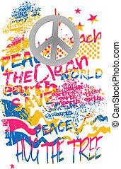 art, graffiti, paix, bannière