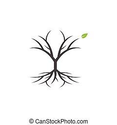 art graphique, agrafe, arbre, isolé, vecteur, conception, gabarit