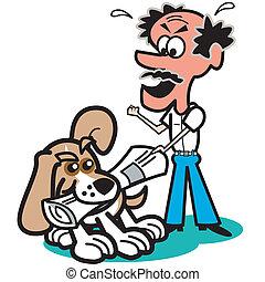 art graphique, chien, agrafe