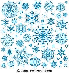 art graphique, flocons neige, flocon neige, vecteur, icons., collection, noël