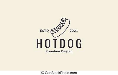 art, icône chien, ligne, chaud, conception, illustration, vecteur, nourriture, symbole, logo