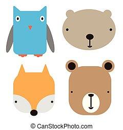 art, icônes, simple, illustration, figure, animal, géométrique