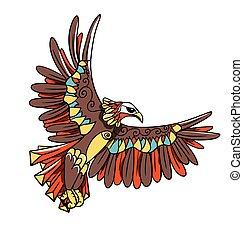 art, ligne, aigle, dessin animé