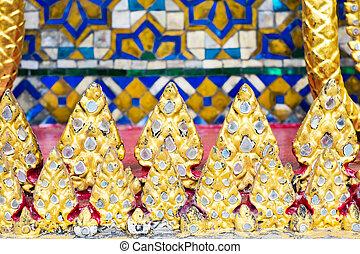 art, mur, modèle, fond, thaï, mosaïque