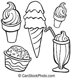 art, nourriture, articles, glace, ligne, crème