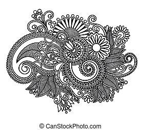 art, orné, conception, fleur, ligne