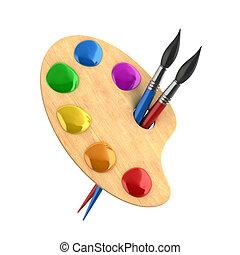 art, peintures, bois, palette