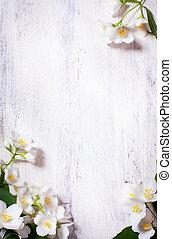 art, printemps, cadre, jasmin, bois, fond, vieux, fleurs