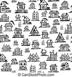 art, seamless, maisons, conception, fond, ton