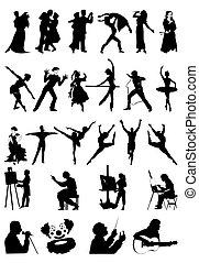 art., silhouettes, vecteur, illustration, gens