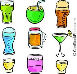 art, vecteur, divers, boisson, doodles
