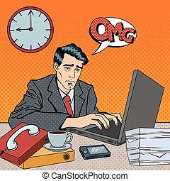 art, work., fatigué, déprimé, ouvrier, laptop., illustration, tard, pop, vecteur, stayed, homme affaires