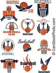 articles, jeu, basket-ball, sport, icônes
