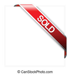 articles, vendu, ruban, rouges, coin