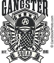 articulations, emblème, crâne, base-ball, gangster, chauves-souris, traversé, laiton
