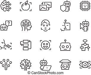 artificiel, ligne, intelligence, icônes