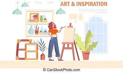artiste, concept, femme