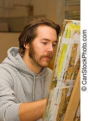 artiste, dessin, jeune