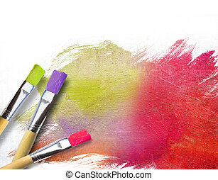artiste, fini, moitié, brosses, toile, peint