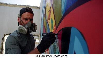 artiste, mur, peinture, marqueur, graffiti, 4k