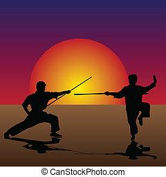 arts martiaux, crépuscule