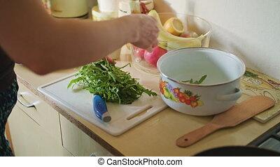 arugula, salade, met, planche