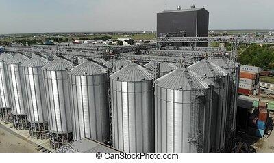 ascenseur, grain, storage., moderne, industriel