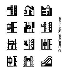 ascenseurs, ascenseurs, ensemble, icône