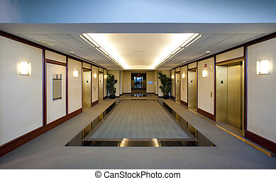 ascenseurs, bâtiment, bureau