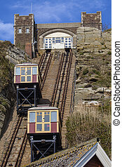 ascenseurs, colline, hastings, ferroviaire, est, vue