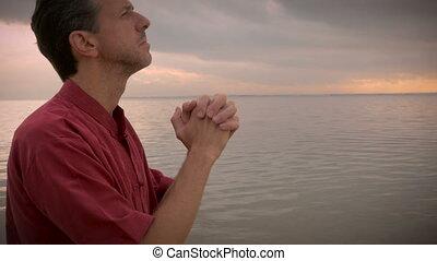ascensions, coup, soleil, poche, océan, prier, voûte, homme