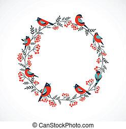 ashberry, couronne, oiseaux, noël