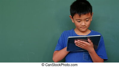 asiatique, classe, école, numérique, vue, étudier, tablette, 4k, écolier, devant