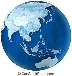 asie, australie, bleu, la terre