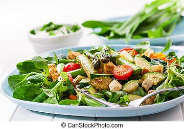 asperge, salade verte