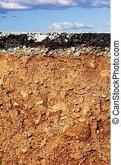 asphalte, excavation, section, croix, séisme, route