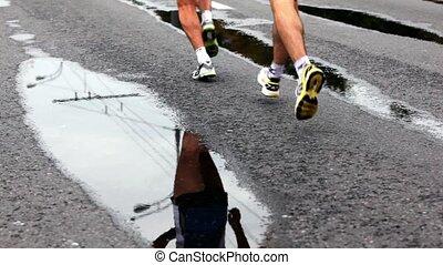 asphalte, international, course, athlètes, mouillé, paix, marathon, xxx, moscou