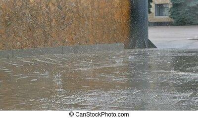 asphalte, mouvement, automne, route, pluie