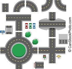 asphalte, parties, vecteur, plan, template., route