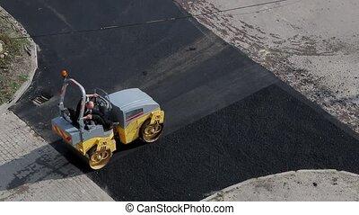 asphalte, steamroller, aplatir, chaud, petit, road.