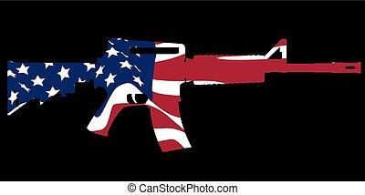 assaut, drapeau, fusil