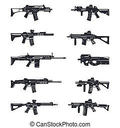 assaut, ensemble, fusils