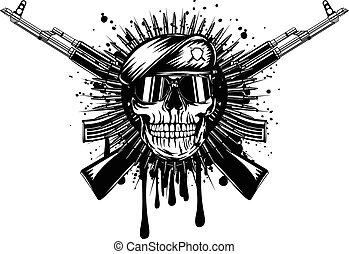 assaut, traversé, béret, crâne, fusil