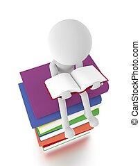 asseoir, book., personne, livres, tas, lecture, 3d