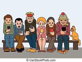 asseoir, gens, isolated., attention, jeune, autre, pay., bench., chaque, pas, musi., écouter